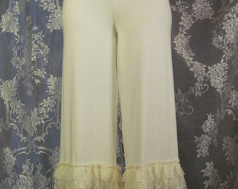 Cream Bamboo Lycra Lace Bloomers