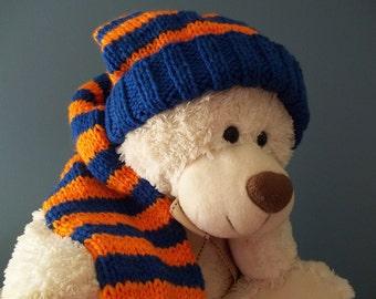 Long Stocking Cap,  Royal Blue and Orange  31 inch Long Floppy Knit Hat, Fl Gators, Fighting Illini Adult Stocking Cap,  Ready to Ship
