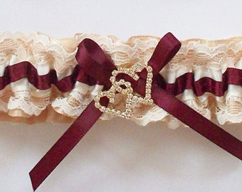 Gold Wedding Garter and Satin Band Toss with Ivory Lace and Burgundy Ribbon, Gold and Rhinestone Double Heart - The Burgundy and Gold TRICIA
