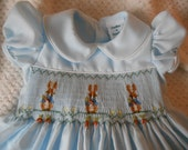 Smocked Dress - Beatrix Potter's  Peter Rabbit - Birthday, Special Occasion Easter