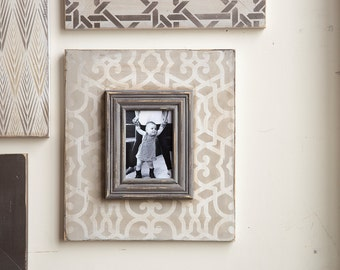 5x7 Scroll Grey Tone on Tone Distressed Picture Frame