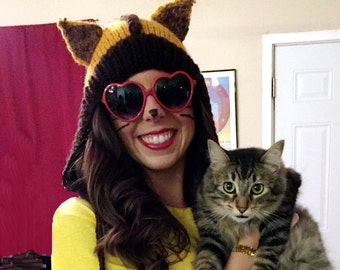Hand Knitted Dark Brown and mustard yellow cat ears hat, fox hood,  animal hats for adults MADE TO ORDER
