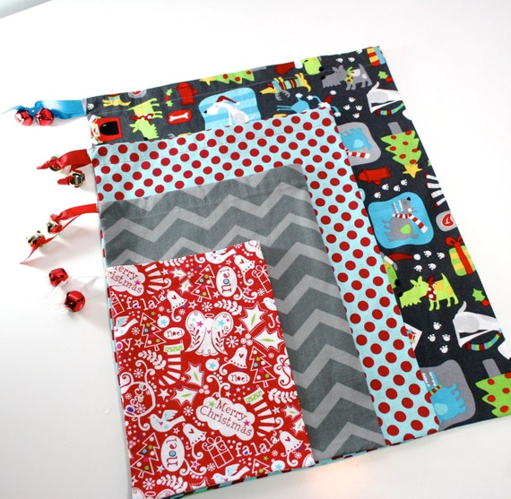 Christmas Gift Bag Set For Dog Lovers Red Blue And Gray