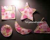 Tennis Pink Fabric-Basic Shapes Magnets Triangle, Heart, Circle, Square, Moon, Star