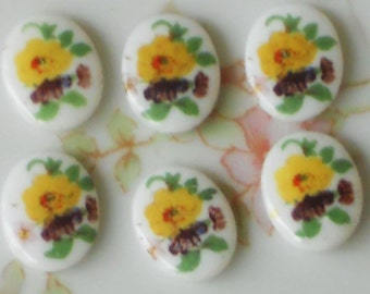 Vintage Cabochons Limoges Purple Rose Floral OVAL Yellow Flowers 8x10mm. #1349