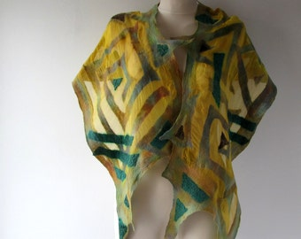 Nuno Felted collar nuno felted scarf  Yellow felt scarf  Pastel shawlGeometric scarf Silk Wool shawl  felted shawl by Galafilc