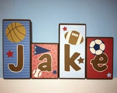 Personalized Wood Blocks - M2M a Little Boy's Red & Blue Sports Bedroom - Play Ball AllStar - Baby Room Custom Name Block Letters Basketball