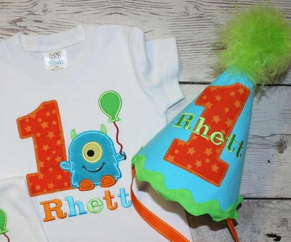 M2M Little Blue Monster Birthday Shirt OR bodysuit and HAT -Monogrammed-Your Choice of Letters or Numbers