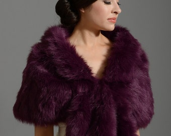 Purple faux fur wrap bridal wrap faux fur shrug faux fur stole faux fur shawl faux fur cape A001