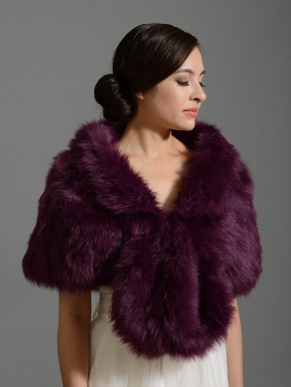 Purple faux fur wrap bridal wrap faux fur shrug faux fur stole for Fur shrug for wedding dress