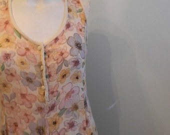 vintage.  Pastel Floral MAXI Dress  / Rayon Dress / S to M
