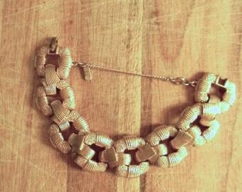 vintage. 60s Rare Costume Gold Metal  Statement Bracelet  // Monet