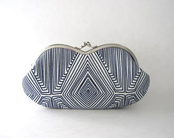 Sunglasses case Eyeglasses Case Clutch Purse - navy blue line art