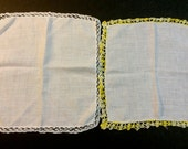 Two Vintage 1940's White Cotton Hankies with Crocheted Lace Trim