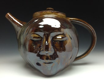Face Teapot Sculpture with Sitting Buddha Bas Relief, Serving Art Pottery Head Smile with Tea Strainer