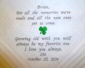 BRIDE to GROOM Handkerchief Wedding Embroidered Irish SHAMROCK Personalized Keepsake