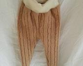 Upcycled wool  leggins/longies/camel cable/ml/large