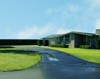 Mid Century   Modern Photo of a Green Suburban Ranch  Home
