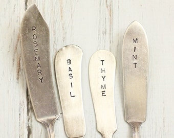 Rustic Silverware Garden  Markers,  Basil, Rosemary, Thyme, Mint, Herb Markers, Eco-Friendly Gardening