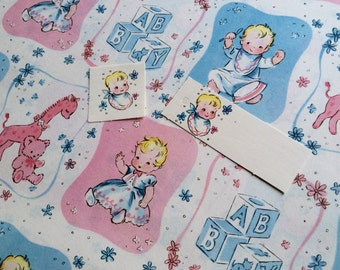 Gift Wrap-Baby ToddlerToy Vignettes-Full Sheet-Vintage 1950's-Tag & Sticker-New Baby-Shower-Wrapping Paper-Craft Design-Scrapbook-Repurpose