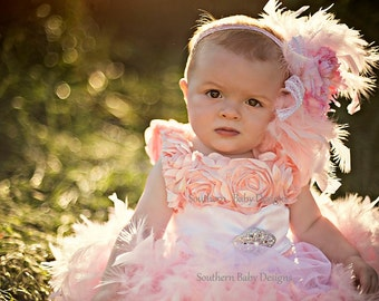 Flowergirl Dress Wedding Easter Dress Pink Feather Dress Headband Set Baby Girl Toddler Girl Photo Prop First Birthday Infant Pageant Dress