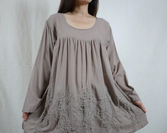 Blossom - Plus Size Bohemian Long Sleeve Azo Free Color Taupe Light Cotton Blouse With Hand-Embroidered Detail