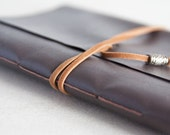 Faux Leather Notebook. Brown Pocket Notebook. Travel Journal. Blank Notebook. Trifold Journal.