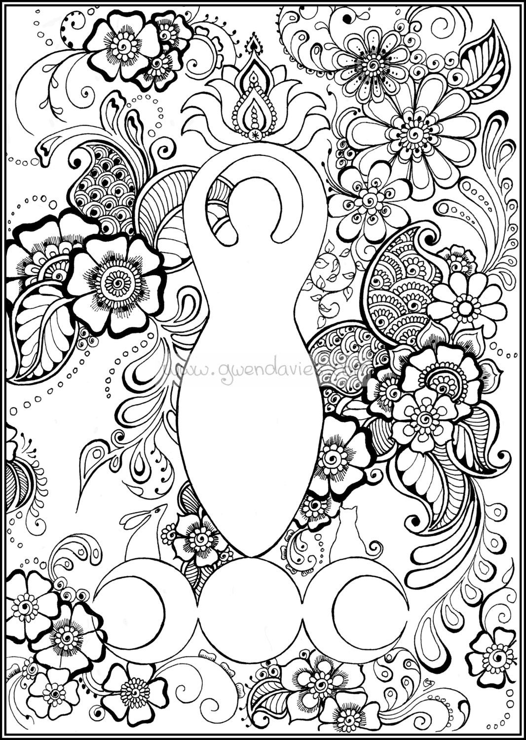 wicca coloring pages | Colour the Goddess zentangle colouring sheet A4 Pagan art