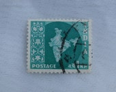 India Postage Stamp 1 N. P. 1950s Era Blue Green Map Design