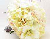 Bridal Bouquet Real Touch Peonies Calla Lilies Orchids Hydrangea Ivory Blush Pink with Grey Ribbon - Customize For Your Wedding Colors