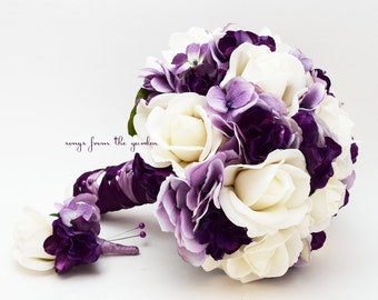 Bridal Bouquet Real Touch Roses Lavender & Purple Hydrangea Real Touch Rose Groom's Boutonniere Real Touch Silk Flower Wedding Bouquet