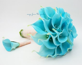 Ready to Ship - Blue Real Touch Calla Lily Bridal Bouquet Groom's Boutonniere Blue Wedding Bouquet -Wedding Bouquet Real Touch Callas