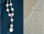 Wedding Necklace, Pearl Bridal Necklace, Bridal Jewelry, Pearl Wedding Necklace, Bridal Y Necklace, Sterling Silver Wedding Jewelry