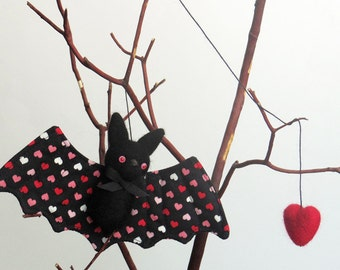 Bat plush, needle felted animal ornament with a red felted heart, cute Halloween decor