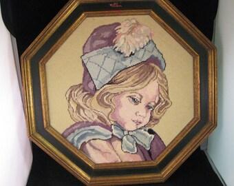 Vintage Framed Needlepoint Young Girl