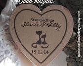 Wedding Favor Wood Magnets- Save the date magnets 45Custom Save the date  made to order cat locer