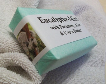 Eucalyptus Mint Handmade Soap with Eucalyptus, Mint and Rosemary Essential Oils plus Aloe Juice and Avocado Oil