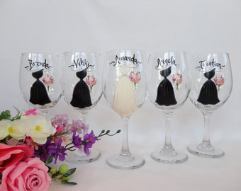 Hand Painted Bridesmaid Wine Glasses - Bridesmaid Dress Wine Glasses - PERSONALIZED to YOUR DRESSES - Bridal Glassware