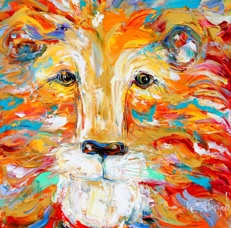 Original Oil Painting Portrait Of A Lion Palette Knife Modern