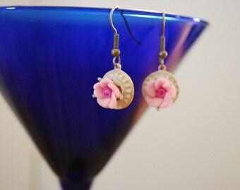 Shabby chic Mori girl rosebud dangle earrings