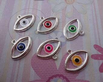 mixed color--set of 10--metal eye charm--shiny silver basic--21x16mm--metal pendant-metal charm
