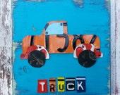 License Plate Artwork Truck Car Beep Beep  -  Boys Room Nursery Travel Adventure - Baby Shower Customize Personalized Art Playroom Bathroom