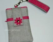 Solid Grey Linen and Hot Pink Phone Case with Wristlet and Back Zipper Pocket with or without Felted Flower iPhone 4 5 6 Plus Note Large