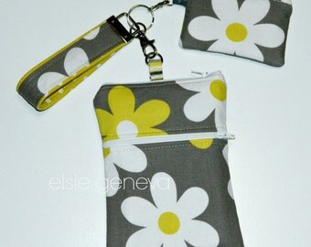 Grey and Yellow Daisy Floral Phone Case w/ Wristlet Smart Key Bluetooth Halo Change Pouch Pink Black and Taupe iPhone 4 5 6 Plus Note