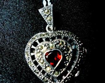 Garnet Pendant Garnet and Marcasite Heart Locket Necklace in Solid Sterling on 24 Inch Sterling Rope Chain