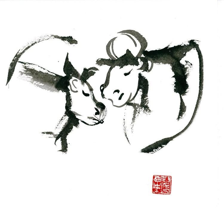 zen ox year of the ox chinese zodiac original zen sumi ink. Black Bedroom Furniture Sets. Home Design Ideas
