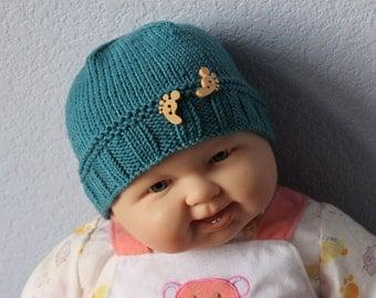 Knitted baby hat. Baby beanie. Unisex baby hat. Baby feet buttons. Handmade. Merino wool. Newborn to 18 months Baby shower Children clothing