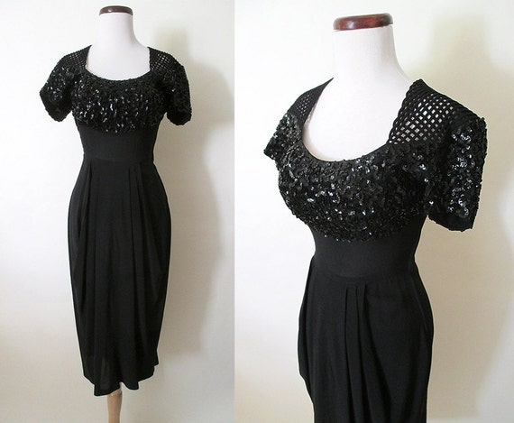 Stunning 1940's Black Crepe Cocktail Party Dress with Sequin Shelf Bust & Tulip Skirt  Old Hollywood Glamour Starlet Pinup Girl Size-Medium