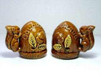 Vintage Squirrel Salt and Pepper Set, Squirrel Ceramic Souvenir Salt and Pepper, Colorado Souvenir Salt and Pepper, Colorado Squirrel Set