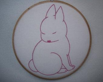 Pink Bunny Hand Embroidery Hoop Art